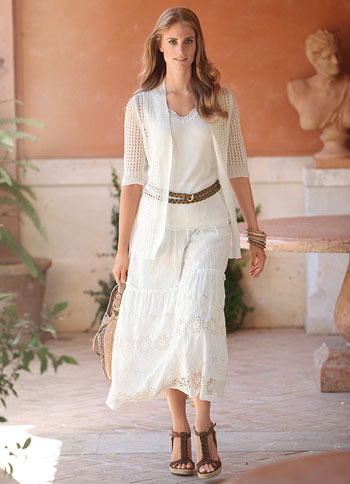 Linen Cardigan - pattern: plain, lace; neckline: shawl; style: open front; predominant colour: white; occasions: casual; length: standard; fibres: linen - 100%; material texture: lace; fit: loose; sleeve length: 3/4 length; sleeve style: standard; texture group: lace; pattern type: knitted - other; pattern size: standard