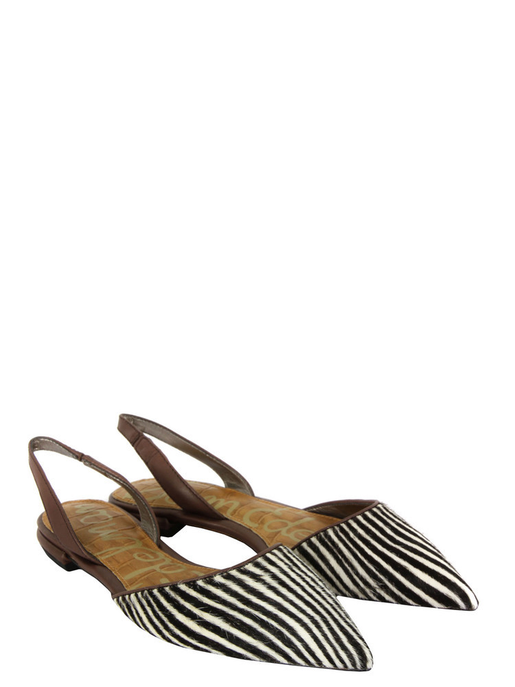 Harper Zebra Print Shoes - predominant colour: black; material: animal skin; heel height: flat; embellishment: animal print; ankle detail: ankle strap; toe: pointed toe; style: mules; pattern: animal print