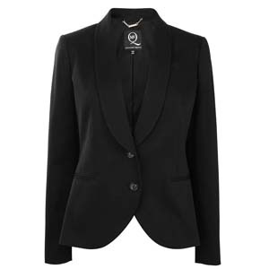 Wool Tuxedo Jacket - pattern: plain; style: single breasted tuxedo; shoulder detail: shoulder pads; hip detail: side pockets at hip, front pockets at hip; collar: shawl/waterfall; predominant colour: black; occasions: casual, evening, work; length: standard; fit: tailored/fitted; fibres: cotton - stretch; material texture: sateen; sleeve length: long sleeve; sleeve style: standard; texture group: structured shiny - satin/tafetta/silk etc.; pattern type: fabric; pattern size: standard