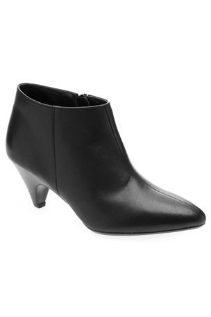 Kitten Heel Ankle Boots - predominant colour: mid grey; material: leather; heel height: high; heel: cone; toe: pointed toe; boot length: ankle boot; style: standard