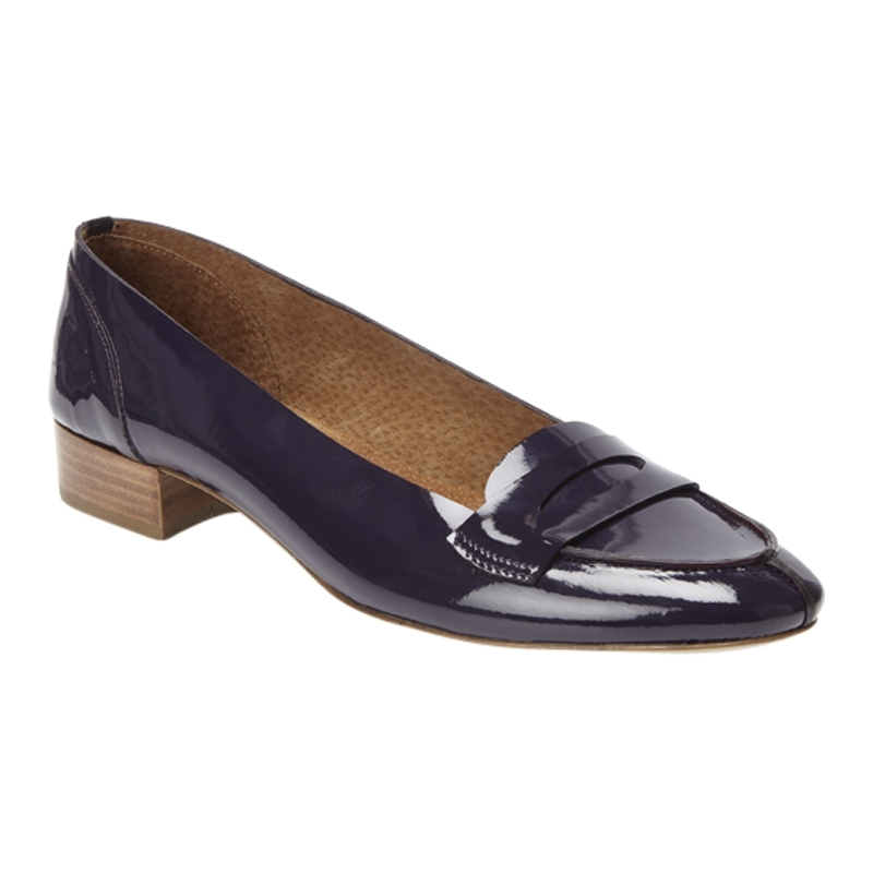 Beechwood Patent Loafers, Ink - predominant colour: navy; material: patent; heel height: flat; toe: pointed toe; style: loafers; finish: patent