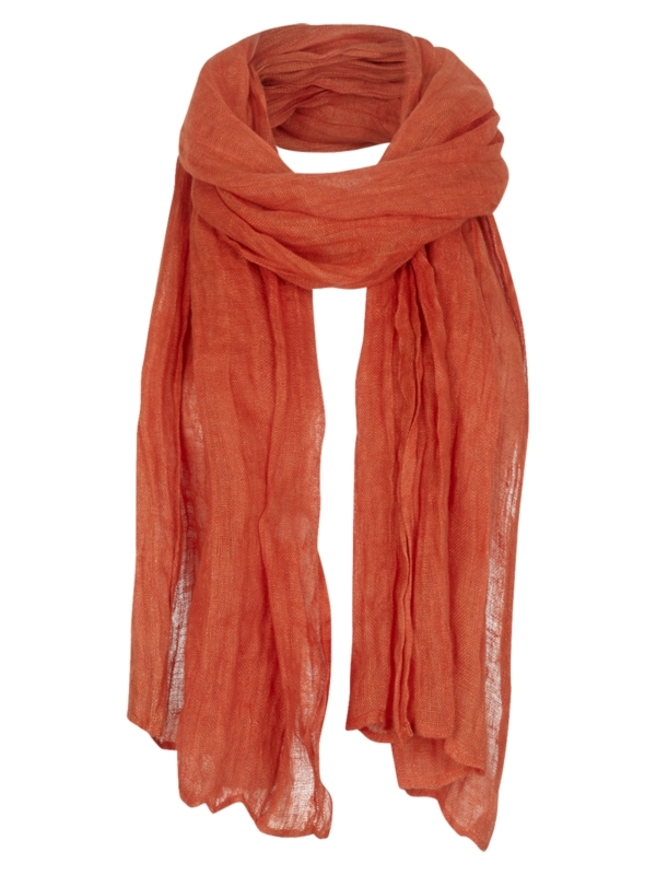 Linen Scarf, Coral - predominant colour: bright orange; style: regular; size: standard; material: fabric; pattern: plain