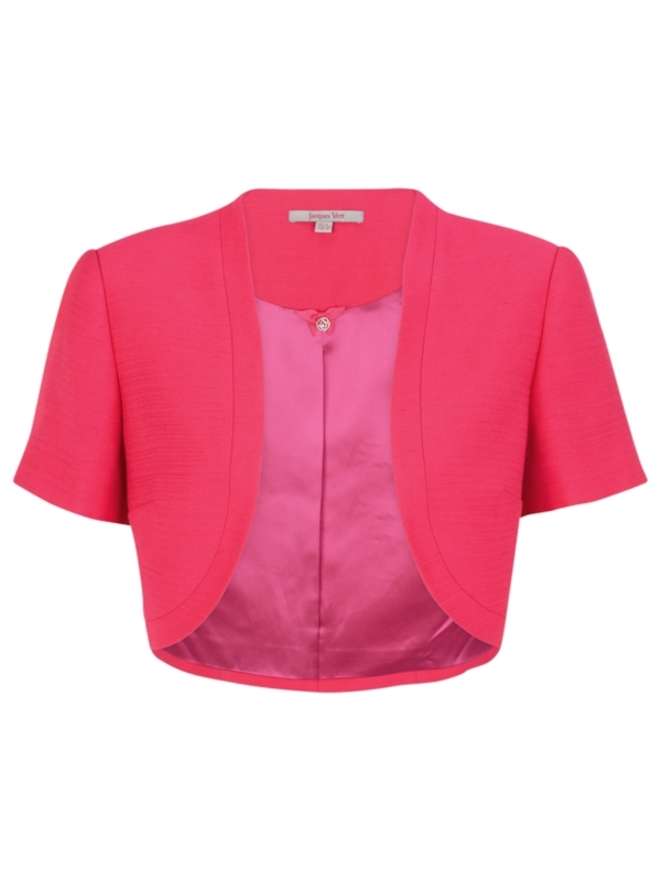 Ruby Rose Short Sleeve Bolero, Pink - pattern: plain; style: bolero/shrug; shoulder detail: shoulder pads; collar: shawl/waterfall; length: cropped; fit: slim fit; predominant colour: hot pink; occasions: evening, work, occasion; fibres: polyester/polyamide - 100%; material texture: jersey stretch; trends: brights; sleeve length: short sleeve; sleeve style: standard; texture group: jersey - clingy; collar break: low/open; pattern type: fabric; pattern size: standard