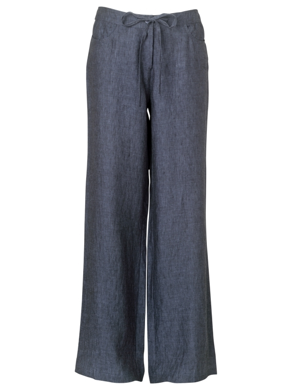 Cross Dye Linen Trousers, Indigo - length: standard; waist detail: elasticated waist, fitted waist, belted waist/tie at waist/drawstring; pocket detail: large back pockets, small back pockets, pockets at the sides; hip detail: front pockets at hip; waist: mid/regular rise; predominant colour: indigo; occasions: casual, work; fibres: linen - 100%; material texture: jersey; trends: aquatic; fit: wide leg; texture group: jersey - stretchy/drapey; style: standard