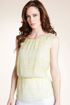Autograph Embroidered Stencil Striped Top - pattern: plain; sleeve style: sleeveless; waist detail: elasticated waist, fitted waist; shoulder detail: tiers/frills/ruffles; bust detail: ruching/gathering/draping/layers/pintuck pleats at bust; predominant colour: primrose yellow; occasions: casual, evening, work; length: standard; style: top; neckline: scoop; fibres: polyester/polyamide - 100%; material texture: jersey; fit: tailored/fitted; trends: pastels; sleeve length: sleeveless; pattern type: fabric; pattern size: standard; texture group: jersey - stretchy/drapey; embellishment: embroidered