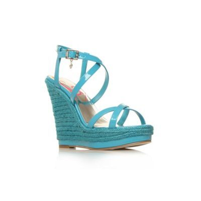 Blue Trance High Heel Shoes - predominant colour: pale blue; material: leather; heel height: high; embellishment: buckles; ankle detail: ankle strap; heel: wedge; toe: open toe/peeptoe; style: strappy