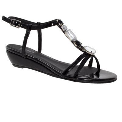 Metallic T Bar Jewel Trim Low Wedge Sandals - predominant colour: black; material: patent; heel height: mid; embellishment: buckles, crystals, glitter, jewels; ankle detail: ankle strap; heel: wedge; toe: open toe/peeptoe; style: strappy; finish: patent