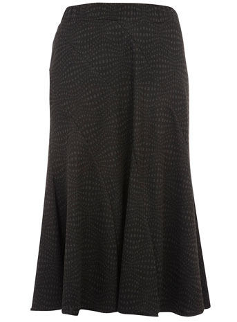 "Evans 34"" Wave Print Skirt - length: calf length; pattern: plain, graphic print, patterned/print; fit: loose/voluminous; hip detail: fitted at hip; waist: mid/regular rise; predominant colour: charcoal; occasions: casual, evening, work; style: fit & flare; fibres: polyester/polyamide - mix; material texture: chiffon; trends: prints; texture group: sheer fabrics/chiffon/organza etc.; pattern type: fabric; pattern size: standard"
