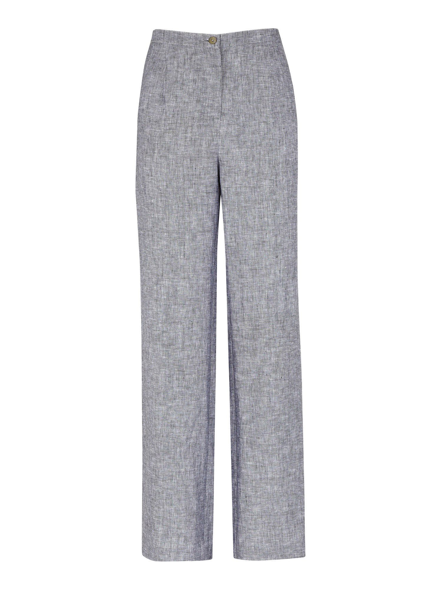 Women's Grey Melange Linen Mix Trousers, Grey - length: standard; waist detail: fitted waist; waist: mid/regular rise; predominant colour: mid grey; occasions: work; fibres: linen - 100%; material texture: corduroy; texture group: corduroy; fit: straight leg; style: standard