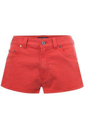 Women's Mini Adventures Mini 5 Pkt Shorts, Red - style: shorts; waist detail: fitted waist, narrow waistband; pocket detail: traditional 5 pocket; length: short shorts; waist: mid/regular rise; predominant colour: true red; occasions: casual; fibres: cotton - mix; material texture: denim; trends: pastels, brights; texture group: denim; fit: straight leg