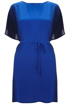 Women's Downthe Sea Tie Waist Top, Blue - neckline: round neck; sleeve style: angel/waterfall; pattern: two-tone; waist detail: belted waist/tie at waist/drawstring; predominant colour: royal blue; occasions: casual, evening; style: top; fibres: silk - 100%; material texture: chiffon; fit: tailored/fitted; back detail: keyhole/peephole detail at back; trends: aquatic; sleeve length: short sleeve; texture group: sheer fabrics/chiffon/organza etc.; pattern type: fabric; pattern size: standard