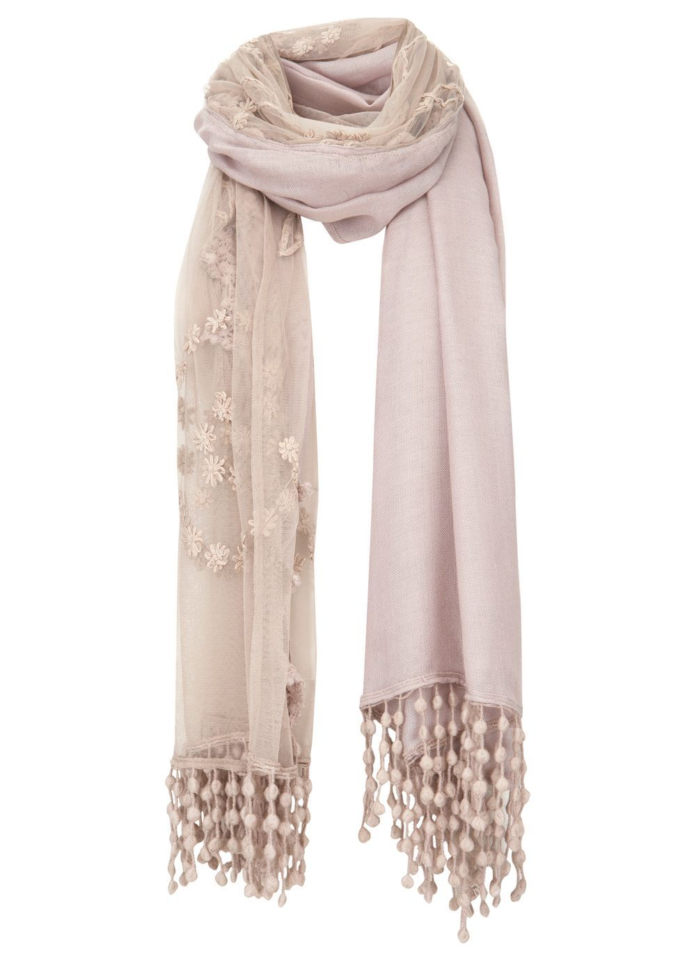 Mink Lace Scarf, Mink - predominant colour: nude; type of pattern: standard; style: regular; size: standard; material: fabric; embellishment: tassels