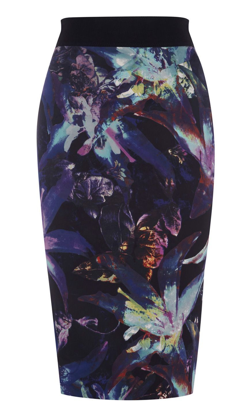 Women's Tropical Prints On Cugna Skirt, Purple - length: below the knee; pattern: floral - busy, abstract, florals, patterned/print; style: pencil; fit: tailored/fitted; waist detail: fitted waist, wide waistband/cummerbund; waist: high rise; hip detail: fitted at hip; occasions: evening, work, occasion; fibres: polyester/polyamide - stretch; material texture: jersey; predominant colour: multicoloured; trends: 1950's, prints; pattern type: fabric; pattern size: small & busy; texture group: jersey - stretchy/drapey