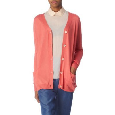 Beryl Silk Cardigan - neckline: low v-neck; pattern: plain; length: below the bottom; hip detail: front pockets at hip; predominant colour: coral; occasions: casual; style: standard; fibres: silk - 100%; material texture: silky; trends: brights; sleeve length: long sleeve; sleeve style: standard; texture group: silky - light; pattern type: knitted - other; pattern size: standard