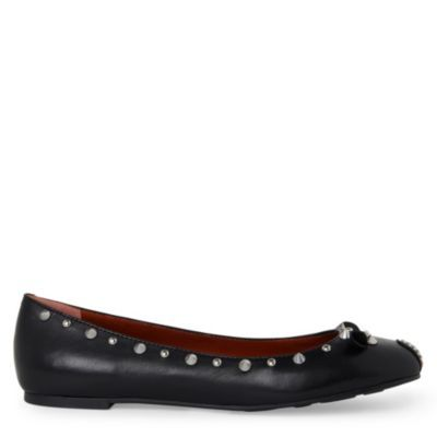 Studded Mouse Pumps - predominant colour: black; material: leather; heel height: flat; embellishment: crystals, jewels, studs; toe: round toe; style: ballerinas / pumps