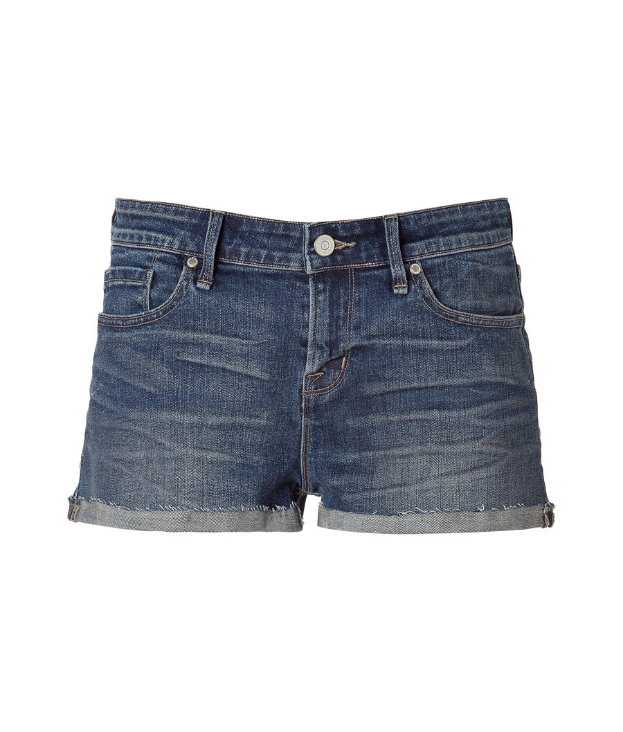 Slouchy Nadia Boyfriend Denim Shorts - style: shorts; waist: low rise; pocket detail: traditional 5 pocket; length: short shorts; predominant colour: denim; occasions: casual; fibres: cotton - mix; material texture: denim; jeans &amp; bottoms detail: turn ups; texture group: denim; fit: skinny/tight leg