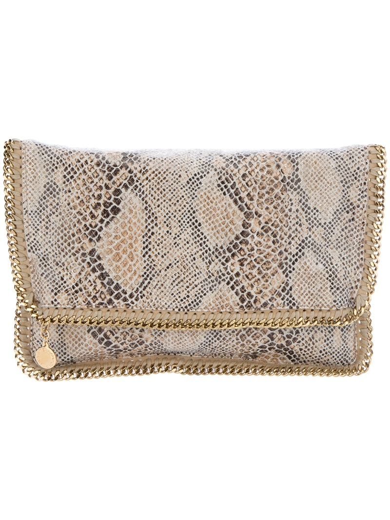 'Falabella' Fold Over Clutch - predominant colour: stone; type of pattern: standard; style: clutch; length: hand carry; size: small; material: fabric; embellishment: animal print; pattern: animal print