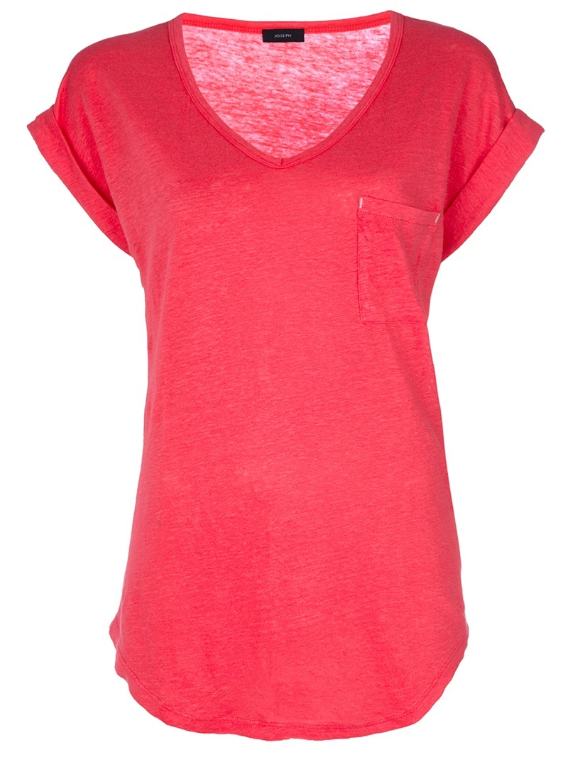 Roll Sleeve Top - neckline: v-neck; pattern: plain; bust detail: added detail/embellishment at bust; length: below the bottom; style: t-shirt; predominant colour: true red; occasions: casual; fibres: linen - 100%; material texture: denim; fit: loose; trends: brights; sleeve length: short sleeve; sleeve style: standard; texture group: denim; pattern type: fabric; pattern size: standard