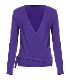 Wrap Sweater - neckline: low v-neck; pattern: plain; style: wrap; predominant colour: indigo; occasions: casual, work; length: standard; fibres: wool - 100%; material texture: jersey; fit: slim fit; hip detail: tie detail at hip, ruffles/tiers/tie detail at hip; waist detail: belted waist/tie at waist/drawstring; trends: aquatic; sleeve length: long sleeve; sleeve style: standard; pattern type: knitted - other; pattern size: standard; texture group: jersey - stretchy/drapey