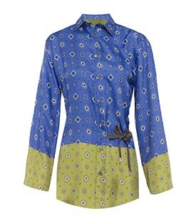 Tootal Print Shirt - neckline: shirt collar/peter pan/zip with opening; pattern: print, patterned/print; length: below the bottom; style: shirt; waist detail: belted waist/tie at waist/drawstring; occasions: casual, work; fibres: silk - 100%; material texture: sateen; fit: body skimming; predominant colour: multicoloured; trends: prints; sleeve length: long sleeve; sleeve style: standard; texture group: structured shiny - satin/tafetta/silk etc.; pattern type: fabric; pattern size: standard