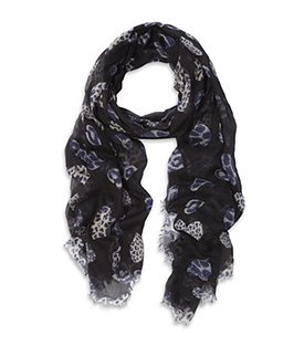 Leopard Heart Scarf - predominant colour: black; type of pattern: heavy; style: skinny; size: standard; material: fabric; pattern: animal print, graphic print, picture design, polka dot, patterned/print