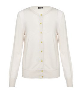 Contrast Trim Cardigan - neckline: round neck; pattern: plain; bust detail: buttons at bust (in middle at breastbone)/zip detail at bust; predominant colour: blush; occasions: casual; length: standard; style: standard; fibres: wool - 100%; material texture: jersey; fit: standard fit; trends: pastels; sleeve length: long sleeve; sleeve style: standard; pattern type: knitted - other; pattern size: standard; texture group: jersey - stretchy/drapey