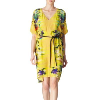 Tokyo Faze Kimono Dress - neckline: v-neck; fit: loose; pattern: print, patterned/print; style: kaftan; sleeve style: kimono; waist detail: belted waist/tie at waist/drawstring; occasions: casual, occasion; length: just above the knee; fibres: silk - 100%; material texture: chiffon; predominant colour: multicoloured; trends: prints; sleeve length: long sleeve; texture group: sheer fabrics/chiffon/organza etc.; pattern type: fabric; pattern size: standard