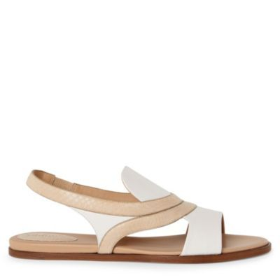 Renata Sandals - predominant colour: ivory; material: leather; heel height: flat; ankle detail: ankle strap; heel: standard; toe: open toe/peeptoe; style: slingbacks