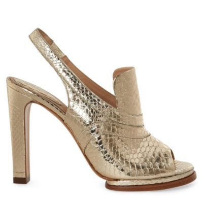 Soliz Slingback Sandals - predominant colour: gold; material: leather; heel height: high; embellishment: animal print; ankle detail: ankle strap; heel: platform; toe: open toe/peeptoe; style: slingbacks; pattern: animal print