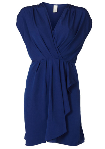 Navy Crossover Dress - style: faux wrap/wrap; neckline: v-neck; fit: fitted at waist; pattern: plain; sleeve style: sleeveless; waist detail: elasticated waist, fitted waist; shoulder detail: tiers/frills/ruffles; bust detail: ruching/gathering/draping/layers/pintuck pleats at bust; predominant colour: navy; occasions: casual, work; length: just above the knee; fibres: viscose/rayon - 100%; material texture: satin; hip detail: ruching/gathering at hip, soft pleats at hip/draping at hip/flared at hip; sleeve length: sleeveless; texture group: structured shiny - satin/tafetta/silk etc.; pattern type: fabric; pattern size: standard