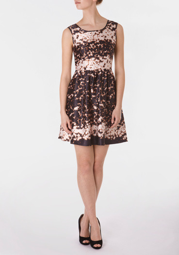 Black Abstract Star Print Dress - style: shift; length: mid thigh; neckline: round neck; fit: fitted at waist; pattern: heavily patterned, print, patterned/print; sleeve style: sleeveless; waist detail: fitted waist, twist front waist detail/nipped in at waist on one side/soft pleats/draping/ruching/gathering waist detail; predominant colour: black; occasions: evening, occasion; fibres: polyester/polyamide - 100%; material texture: satin; trends: prints; sleeve length: sleeveless; texture group: structured shiny - satin/tafetta/silk etc.; pattern type: fabric; pattern size: big & busy