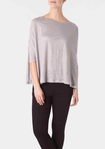 Silver Fine Knit Jumper - neckline: round neck; pattern: plain; style: standard; predominant colour: silver; occasions: casual; length: standard; fibres: linen - 100%; material texture: jersey; sleeve length: 3/4 length; sleeve style: standard; pattern type: knitted - other; pattern size: standard; texture group: jersey - stretchy/drapey