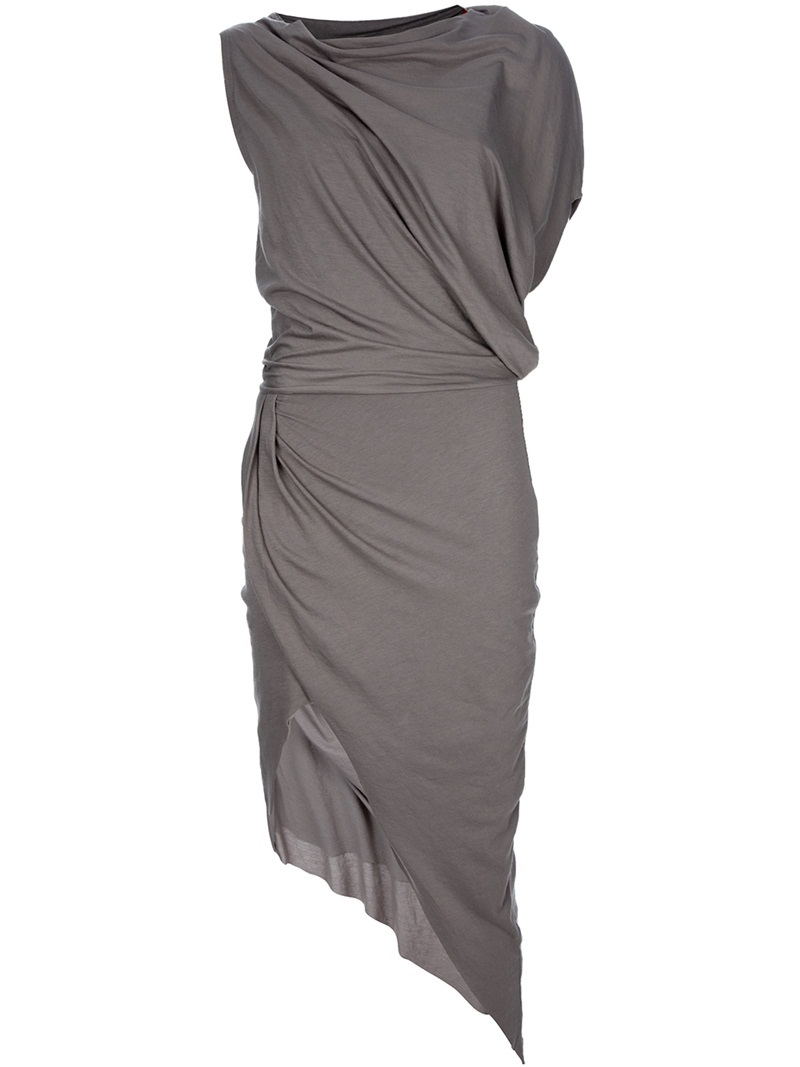 Feather Drape Dress - length: calf length; neckline: cowl/draped neck; pattern: plain; style: asymmetric (top); sleeve style: asymmetric sleeve; waist detail: fitted waist, twist front waist detail/nipped in at waist on one side/soft pleats/draping/ruching/gathering waist detail; hip detail: fitted at hip, ruching/gathering at hip; bust detail: ruching/gathering/draping/layers/pintuck pleats at bust; predominant colour: charcoal; occasions: evening, occasion; fit: body skimming; fibres: cotton - mix; material texture: jersey; pattern type: fabric; pattern size: standard; texture group: jersey - stretchy/drapey
