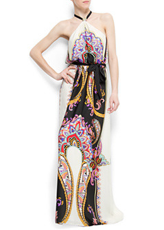 Dress Phuket A - fit: fitted at waist; pattern: heavily patterned, print, graphic print, patterned/print; sleeve style: sleeveless; style: maxi dress; waist detail: fitted waist, belted waist/tie at waist/drawstring; neckline: halter neck; back detail: racer back/sports back; occasions: casual, evening, occasion; length: floor length; fibres: polyester/polyamide - 100%; material texture: jersey; predominant colour: multicoloured; trends: prints; sleeve length: sleeveless; pattern type: fabric; pattern size: big & busy; texture group: jersey - stretchy/drapey