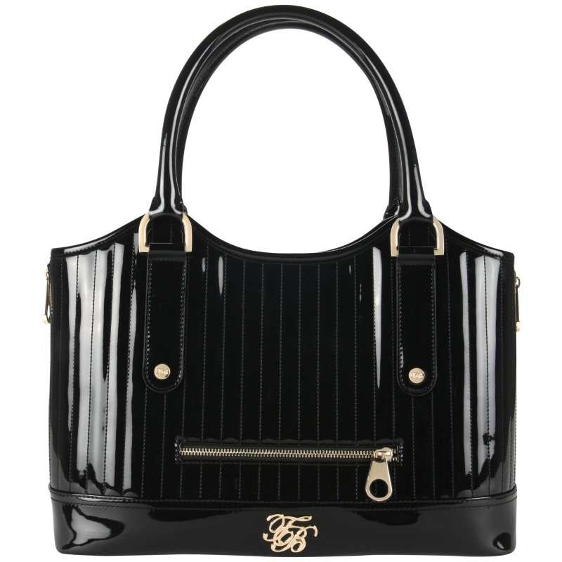 Turaco Quilted Tote Handbag, Black - predominant colour: black; style: tote; length: handle; size: standard; material: patent; embellishment: zips; pattern: plain; finish: patent