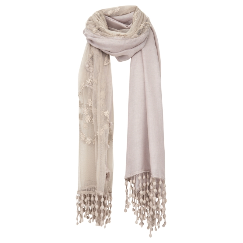 Lace Scarf, Mink - predominant colour: stone; type of pattern: light; style: regular; size: standard; material: knits; embellishment: embroidered, fringing, tassels