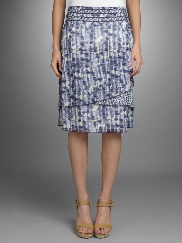 Blurred Dot Print Skirt, Blue/Yellow - pattern: lightly patterned, patterned/print; style: straight; fit: tailored/fitted; hip detail: fitted at hip; waist: mid/regular rise; predominant colour: pale blue; occasions: casual; length: on the knee; fibres: cotton - 100%; material texture: satin; trends: prints; texture group: structured shiny - satin/tafetta/silk etc.; pattern type: fabric; pattern size: small & light
