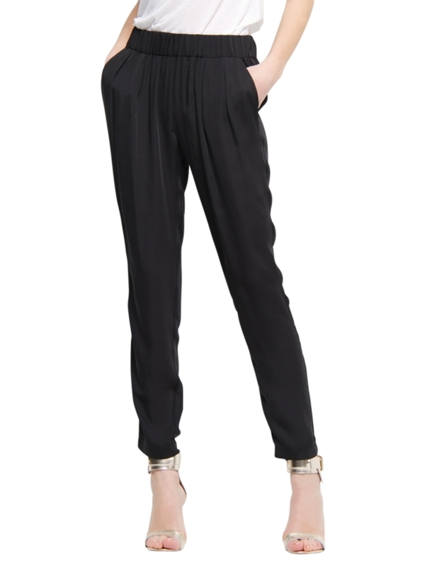 Pleated Baggy Trousers, Black - length: standard; waist detail: elasticated waist, narrow waistband; pocket detail: pockets at the sides; waist: mid/regular rise; predominant colour: black; occasions: casual, evening, work; fibres: polyester/polyamide - 100%; material texture: jersey; hip detail: front pleats at hip level; trends: sports luxe; fit: slim leg; texture group: jersey - stretchy/drapey; style: standard