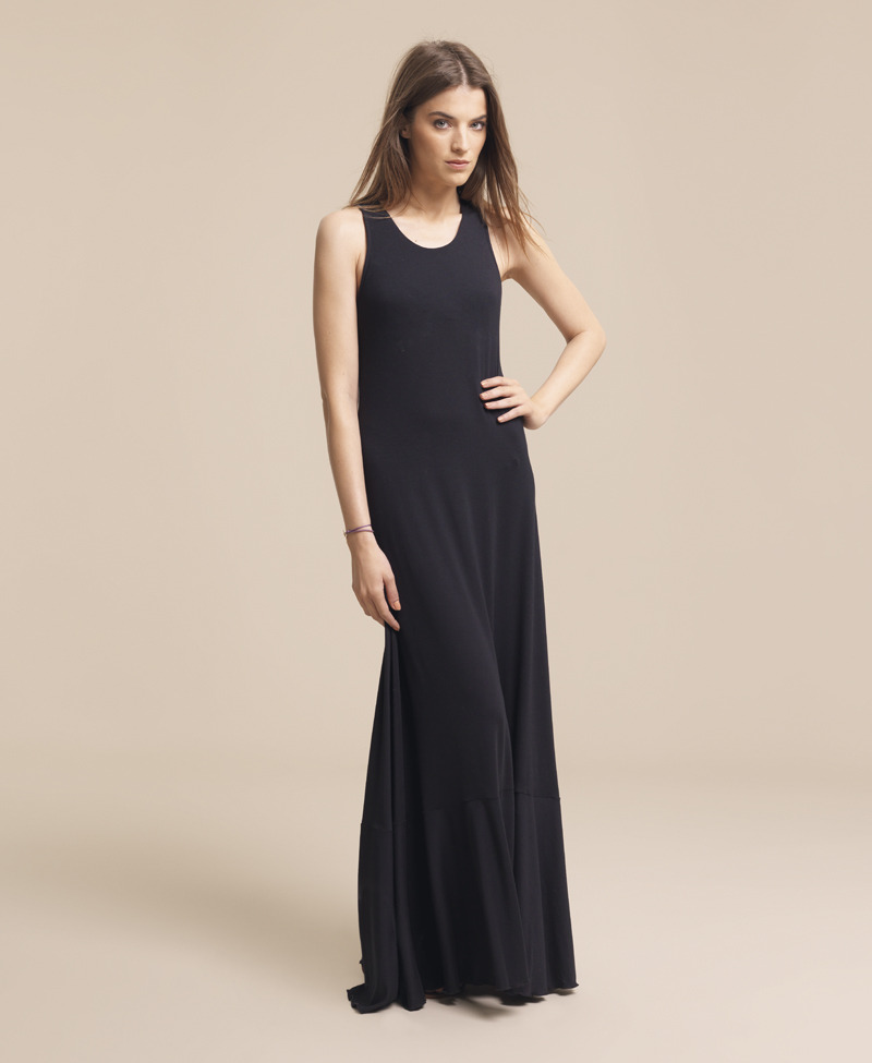Racer Back Maxi - pattern: plain; sleeve style: sleeveless; style: maxi dress; waist detail: fitted waist; hip detail: fitted at hip; predominant colour: black; occasions: casual, occasion; length: floor length; fit: body skimming; neckline: scoop; fibres: polyester/polyamide - stretch; material texture: jersey; sleeve length: sleeveless; pattern type: fabric; pattern size: standard; texture group: jersey - stretchy/drapey