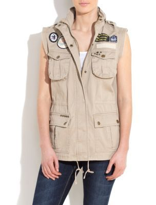Stone Sleeveless Utility Jacket - sleeve style: sleeveless; style: gilet; shoulder detail: obvious epaulette; bust detail: added detail/embellishment at bust; collar: funnel; length: below the bottom; hip detail: front pockets at hip; predominant colour: stone; occasions: casual; fit: straight cut (boxy); fibres: cotton - 100%; material texture: chiffon; sleeve length: sleeveless; texture group: sheer fabrics/chiffon/organza etc.; collar break: high; pattern type: fabric; pattern size: standard; embellishment: embroidered