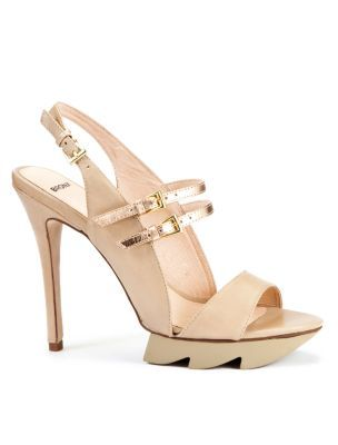 Cream Strappy Cut Out Sole Sandals - predominant colour: ivory; material: faux leather; heel height: high; embellishment: buckles; ankle detail: ankle strap; heel: platform; toe: open toe/peeptoe; style: slingbacks