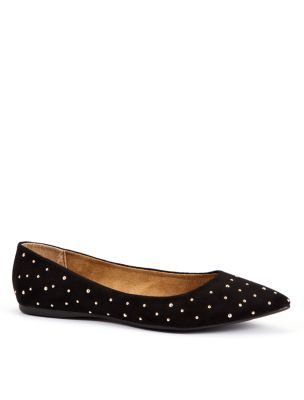 Wide Fit Black Pointed Stud Ballerina Shoes - predominant colour: black; material: fabric; heel height: flat; embellishment: studs; toe: pointed toe; style: ballerinas / pumps