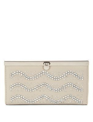 Sparkly Wave Pattern Purse - predominant colour: stone; type of pattern: light; style: clutch; length: hand carry; size: small; material: fabric; embellishment: crystals; pattern: plain