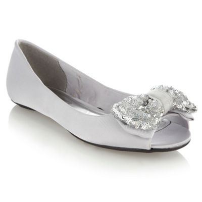 Silver Sequin Bow Pumps - predominant colour: silver; material: fabric; heel height: flat; embellishment: sequins; toe: open toe/peeptoe; style: ballerinas / pumps