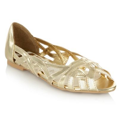 Gold Cutout Peep Toe Pumps - predominant colour: gold; material: faux leather; heel height: flat; heel: standard; toe: open toe/peeptoe; style: strappy