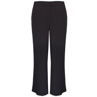 Regular Length Black Crepe Wide Leg Trouser - length: standard; waist: mid/regular rise; predominant colour: black; occasions: work; fibres: polyester/polyamide - 100%; material texture: jersey; waist detail: narrow waistband; fit: wide leg; texture group: jersey - stretchy/drapey; style: standard