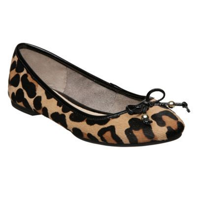 Leopard M Burdon D Zebra Pony Ballerina - predominant colour: multicoloured; material: animal skin; heel height: flat; embellishment: animal print, ribbon; toe: round toe; style: ballerinas / pumps; pattern: animal print