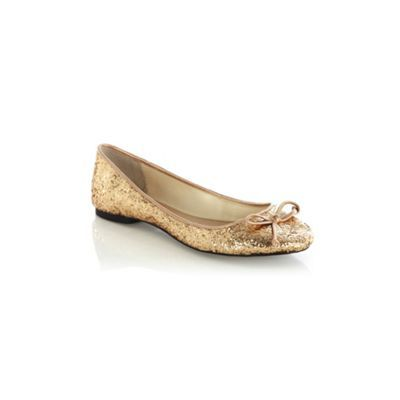 Chunky Glitter Ballerina - predominant colour: gold; material: faux leather; heel height: flat; embellishment: glitter, ribbon; toe: round toe; style: ballerinas / pumps