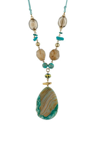 Green Agate Pendant Necklace - predominant colour: turquoise; style: pendant; length: long; size: standard; material: beaded; embellishment: beading
