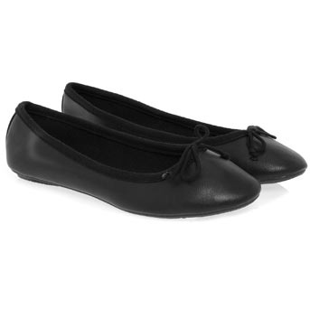 Black Soft Ballerina Pumps - predominant colour: black; material: faux leather; heel height: flat; embellishment: ribbon; toe: round toe; style: ballerinas / pumps